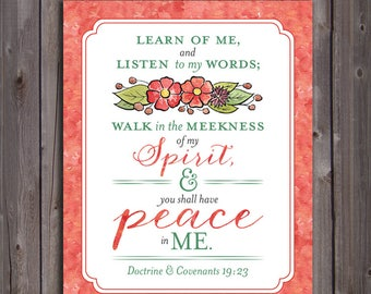 2018 LDS Mutual Theme Scripture Poster Printable in 9 sizes (Instant Download) - You Shall Have Peace In Me [Christ]