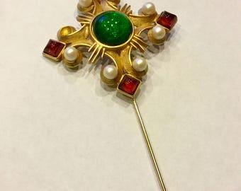 Vintage Ben-Amun Gripoix Glass Cabochon Jeweled Maltese Cross Huge Haute Runway Stickpin