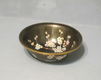 Black Cloisonne Enamel Fruit Bowl / Vintage Brass Dish with Filigree Cherry Blossom Butterfly & Gold Pattern Mid Century Modern Asian Decor