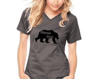 Mama Bear Tshirt, Mama Bear Shirt, Missy Fit  Graphic Tee, Vneck Shirt, Short Sleeve Cotton Mom Shirt, Gifts For Mothers, New Mom Gift Mommy