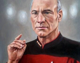 Captain Picard - Star Trek TNG fine art print - Jean Luc Picard Portrait Painting - Patrick Stewart Engage - 5x7 8x10 11x14
