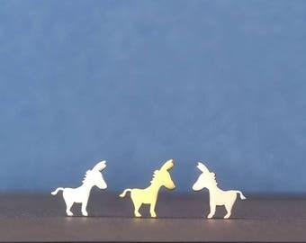 Solid Gold Donkey Earrings Farm animal studs 14k yellow gold stud earring gift animal rose gold earring 14k dainty solid gold