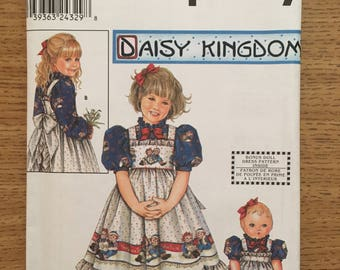"Sewing Pattern ~ Simplicity 9424 ~ Daisy Kingdom Girls Dress Pinafore 18"" Doll Clothes"