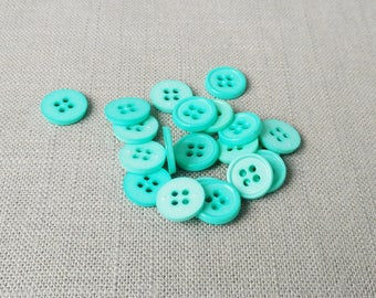 """12 Bright Sea Green 1/2"""" (13 mm) buttons"""