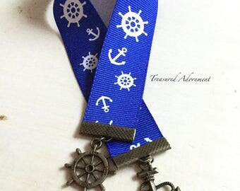 Bookmark, Nautical Bookmark, Marine, Anchor and wheel charms, Cruise,  Blue ribbon, Gift  for Book lover, Bookworm, Thank you gift, teacher