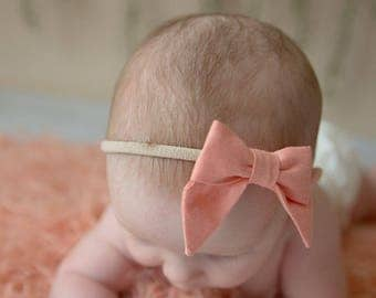 Petite Peanut Bitty Bow Headband - Solid Coral - Baby Girl Toddler - (Made to Order)