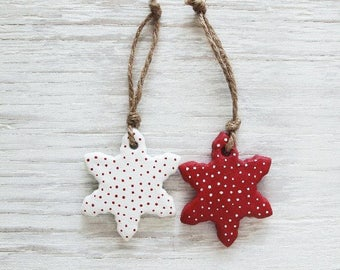 Salt Dough Ornaments / Star Ornaments Set / Rustic Ornaments / Red and White Stars / Set of 6 / Christmas Decor / Rustic Tree Decor