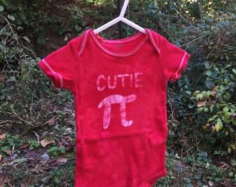 Pi Day Baby Bodysuit, Red Pi Day Baby Shirt, Cutie Pi Bodysuit, Nerdy Baby Bodysuit, Math Baby Gift, Red Cutie Pi Bodysuit (9 months)