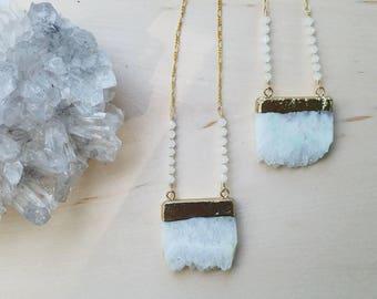 Gold Quartz Crystal Necklace // Electroformed // 18k Gold // Ready to Ship