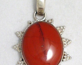 Gemstone pendant charm 4 necklace solid sterling silver brick agate stone w nice sized bale and beaded design unisex fine jewelry