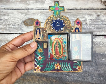Vintage Mexican tin nicho 4 x 6 Virgen de Guadalupe shrine, Our Lady of Guadalupe altar art shadow box shrine, Day of Dead, Catholic gifts