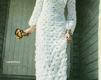Crochet Pattern PDF - Wedding Dress/Bridal Gown - Immediate download Retro 1970s Fashion Juliet Style