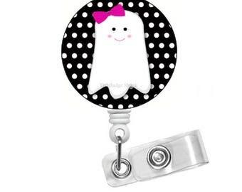 Ghost Polka Dot  - Retractable ID Badge Reel - Name Badge Holder - Nursing Badge - Nurse Badge Holder - Nursing Badge Clip - Felt Badge - RN