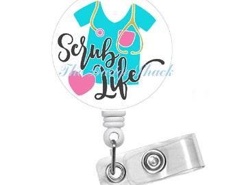 Scrub Life Retractable Badge Reel - Name Badge Holder - Scrublife Badge Holder - Surgery Nurse Badge - Nursing Badge - Nurse Badge Holder
