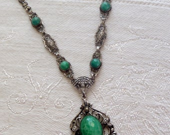 Vintage Necklace Peking Glass Filigree Metal