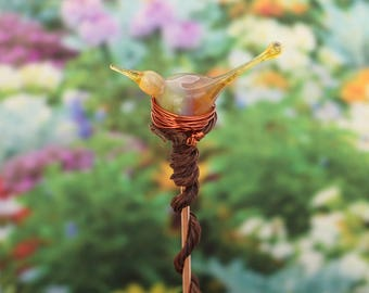 bird plant stake, garden art, bird yard art, glass bird garden ornament, canary garden decoration