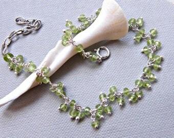 Peridot bracelet in sterling silver, delicate bracelet for women, dainty bracelet, wire wrap cluster bracelet, August birthstone bracelet