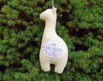 Personalized Giraffe Christmas Ornament, Baby's First Christmas Personalized Ornament, Custom Ornament - Yellow Giraffe