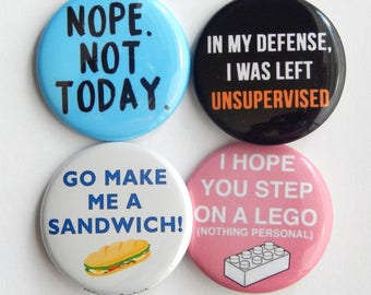 """Office Gag Gift 1.5""""  Sarcastic Fridge Magnets, Pins For Backpack, Birthday Party Favor, Back To School, Stocking Stuffer, Locker Decoration"""