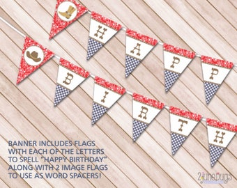Cowboy Happy Birthday Pennant Banner, DIY Cowboy Party Decorations, Country Western Theme, PRiNTABLE, INSTANT DOWNLOAD