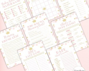 Princess Baby Shower Games Package in Pink and Gold, Bingo, Purse, Scramble, Nursery Rhyme, Price, etc, PRINTABLE INSTANT DOWNLOAD