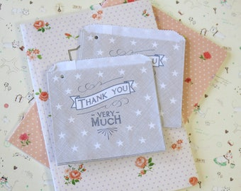 Thank You Very Much 20pc Grey Strung Mini Paper Bags