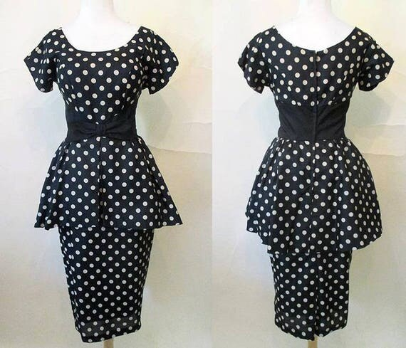 """Chic 1950's """"New Look"""" Silk Polka-Dot Cocktail Party Dress with Dramatic Peplum Pinup Girl Rockabilly Size small l"""