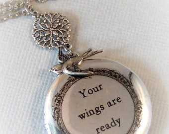 Your wings are Ready,Bird Necklace,Sparrow Necklace,Vintage Necklace,Bird Locket,Wish Locket,Make a Wish,Vintage,Sparrow Locket,Sparrow