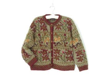 90s Cardigan Sweater * Vintage Cropped Sweater * Chunky Knit Cardi * Large
