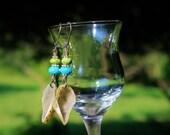 OOAK Large Geodes, Rare Sleeping Beauty Turquoise & Gaspeite Earrings, Handmade Wearable Art, Handcrafted Artisan Sterling Silver Earrings