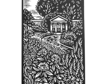 Cowbridge Physic Garden - Original Lino print