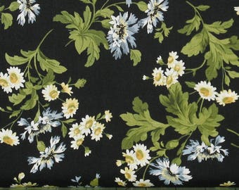 Blue & White Flower Sprays with Leaves on Black Cotton Quilt Fabric, Shabby Chic, Poppies Collection, Fat Quarter, Yardage, MAS8781-J