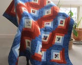 """Lap Quilt """"Orchid Potpourri"""" Log Cabin Throw, Quilted Blanket, Orange White Blue Quilt, Log Cabin Quilt, Quiltsy Handmade, Wheelchair Quilt"""