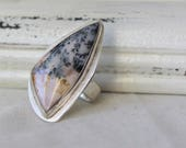Sterling silver and Spanish Point Agate Ring - jewelry cabochon gemstone 925 - Size 7.5 - READY TO SHIP