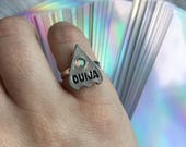 Opal Ouija Planchette midi ring with crystal, pinkie ring, knuckle ring