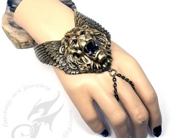 Large WINGED LION Slave Bracelet ~ Brass w/ Hand Applied Golden Brown Patina ~ Roaring Lion, Victorian, Gothic, Steampunk, Fantasy #B0173