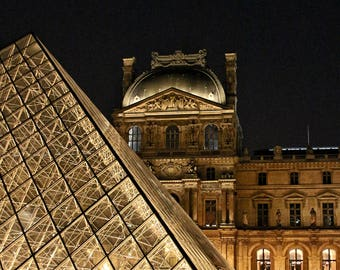 Fine Art Photography, Louvre pyramid, Paris at night  8x10, colour, black and white both available