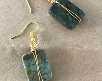 African turquoise drop earrings