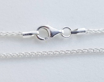 5 pcs, 16 Inches, 1.6mm 925 Sterling Silver Wheat Chain, Finished Chain - Made in Italy