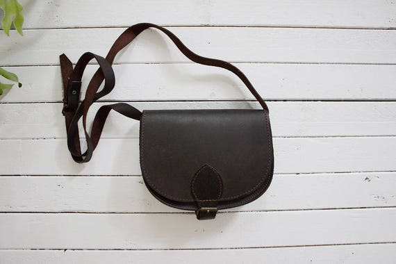 Vintage Mini Leather Bag / Brown Leather Satchel / Mini Leather Purse / Mini Satchel / Equestrian Purse