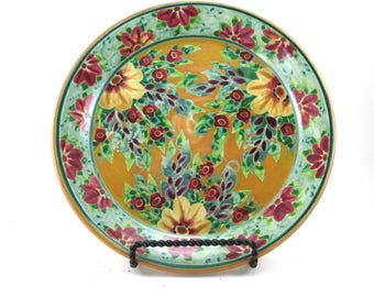 Decorative Lunch Plate - Gold Porcelain Serving Platter - Handmade with Floral Design - Kitchen Place Setting