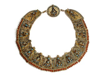 Antique 1930s Collar Necklace - TIBETAN Brass TURQUOISE Coral Statement Jewelry - Buddhist Panel Ceremonial Ethnic GYPSY Runway Bib Necklace