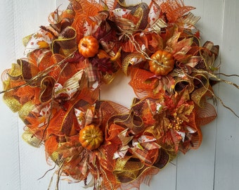Deco Mesh Fall  Wreath, Autumn Wreath, Fall Wreath, Welcome Wreath,  Front Door Wreath
