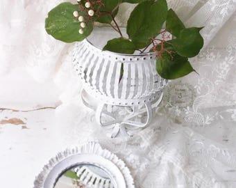 French Nordic White Shabby Ornate Wall Decor. Shabby Chic Mirror Pocket Vase Sconce Set. Vintage Painted Rustic Shabby Cottage Decor