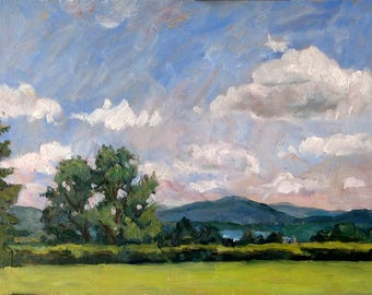 Summer Sky, Tanglewood Afternoon. Small Landscape on Panel, 11x14 Plein Air American Impressionist Fine Art, Signed Original Oil Painting