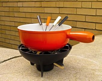 Vintage Le Creuset Enamel Cast Iron Fondue Pot Flame Orange Enamelware w Four Color Coordinated Skewers 1970s - Vintage Cookware - Flameglo