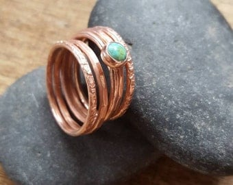 Turquoise Stacking Rings,  Set of 5 Thin Copper Stackers with Tibetan Turquoise. Boho Stacking Rings. Minimalist Jewelry, Stackable Rings