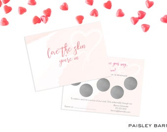 INSTANT DOWNLOAD Valentine's Day Rodan+Fields Scratch off Cards  | customer gift, skincare, 2 sided, business card, printed, R+F, marketing