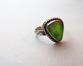 Green Sea Glass Sterling Silver Ring