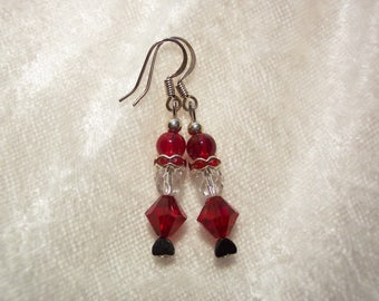 Santa Earrings, Santa Claus Earrings, Red Glass Earrings, Christmas Earrings, Red Earrings, Holiday Earrings, Clip ons Available